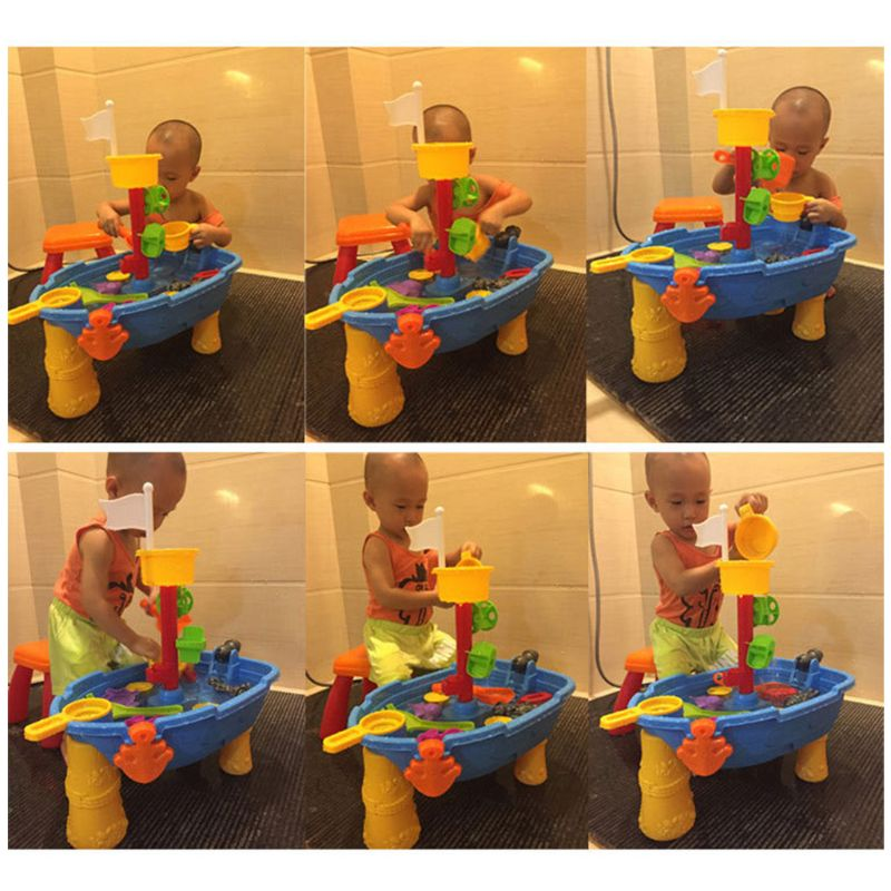 Kids Sand Water Play Table Pirate Ship Inside Outdoor Seaside Beach Garden Toy R7RB