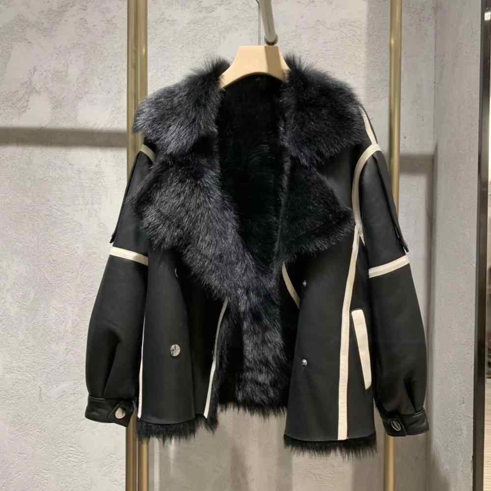 本物の革のジャケット冬のコートの女性本物の天然メリノ羊の毛皮のコートプラスサイズの女性のトップスやブラウス