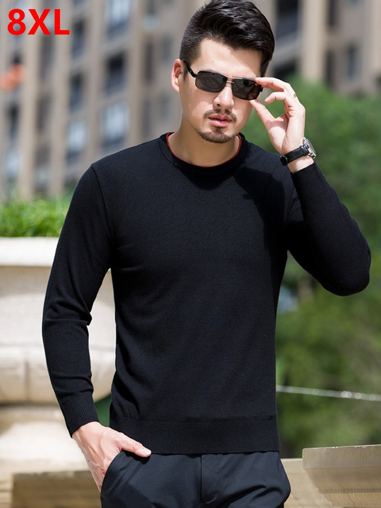 Big Size Sweater Men Plus Size  Solid  Round Neck Sweater Winter Loose Fat Guy Sweater Black Sweater