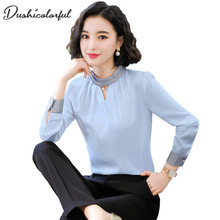 blouse women plus size tops chemisier femme  blusa feminina blusas 2019 kawaii white blue shirt Dushicolorful