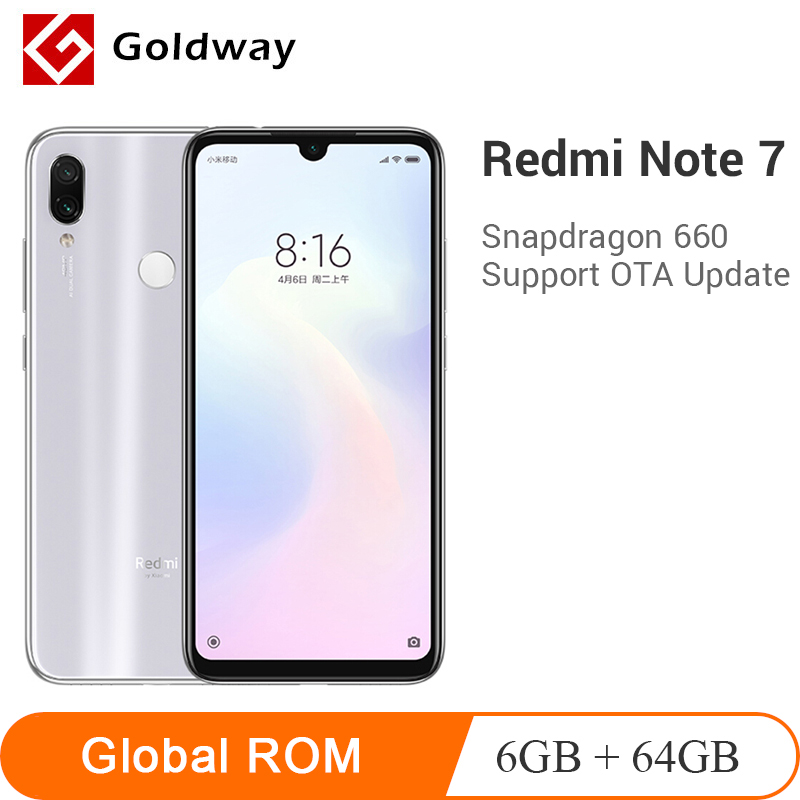 Global ROM Xiaomi Redmi Note 7 6GB RAM 64GB ROM Mobile Phone Snapdragon 660 Octa Core 48MP Dual Camera 4000mAh 6.3