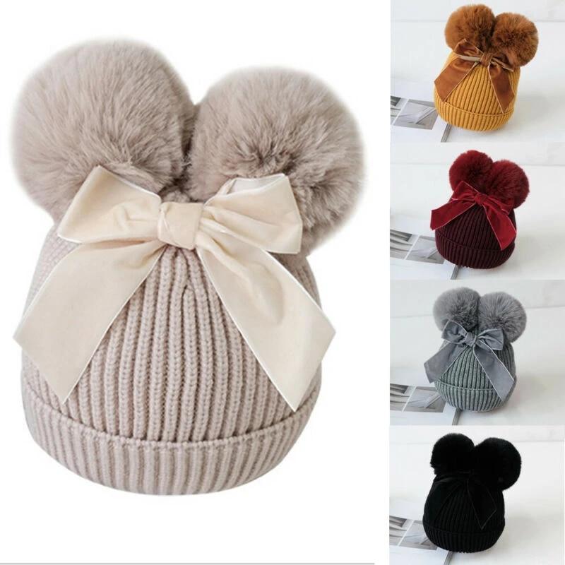 Kids Baby Girl Winter Stuff Double Pompom Balls Warm Thicker Beanie Cap Hat