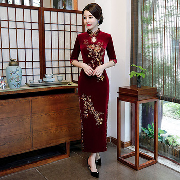 Female Sexy Chinese Dress Traditional Velvet High Split Qipao Classic Flower Evening Party Gown Hollow Out Cheongsam Vestidos