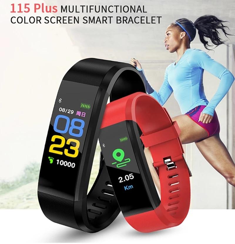 TEZER 115 плюс Смарт Браслет для измерения кровяного давления 115 умные часы Фитнес трекер монитор сердечного ритма Смарт-Браслет фитнес-трекер