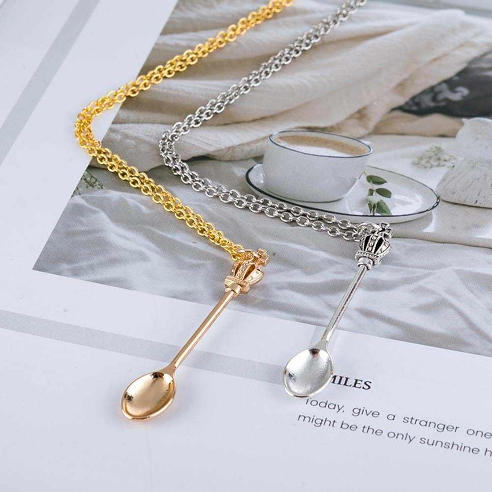 تاج ملعقة شاي صغيرة شكل قلادة قلادة للنساء الألوان الإبداعية صغيرة طويلة ربط مجوهرات حلية ملعقة قلادة