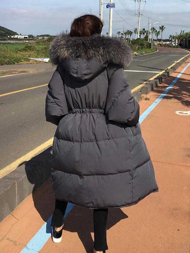 מעיל נשים של חורף למטה גדול אמיתי פרווה צווארון גדול גודל עבה נפוח מעיל מעילי Chaquetas Mujer Invierno 2020 KJ591