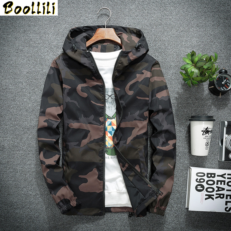 Boolili Spring Autumn Men's Hooded Jackets Camouflage Military Coats Casual Zipper Male Windbreaker Men Brand Clothing