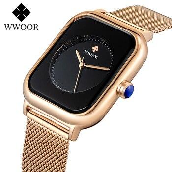Fashion Minimalist Watch Women 2020 WWOOR Top Brand Luxury Women Square Quartz Watch Ladies Rose Gold Wrist Watches Sports Clock