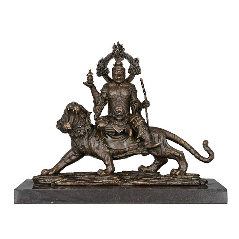 ATLIE BRONZES ศาสนาประติมากรรมรูปปั้นพระพุทธรูป Vaisravana Bishamon ตกแต่งบรอนซ์พระพุทธรูปทิเบตไม่มีที่สิ้นสุ...