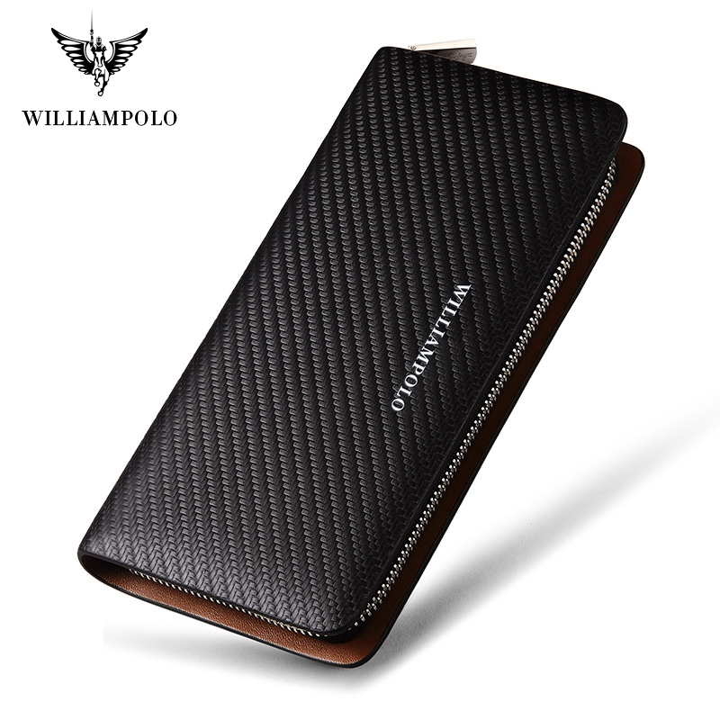 william polo wallet - WILLIAMPOLO  Original Brand 100% Leather Wallet Men Famous Long Knitting Pattern Wallet Men Luxury Brand Wallets #118