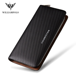 WILLIAMPOLO  Original Brand 100% Leather Wallet Men Famous Long Knitting Pattern Wallet Men Luxury Brand Wallets #118