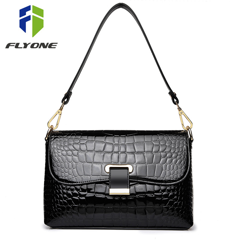 FLYONE Luxury Brand Crocodile Patent Leather Handbag Women Messenger Bag Female Mini Shoulder Bags Shell Envelope Day Clutches