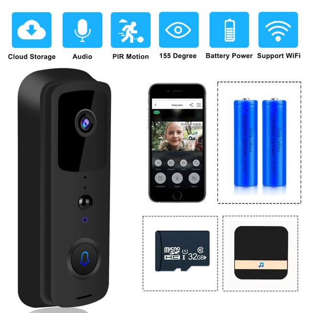 ZILNK sonnette de porte sans fil avec wi fi 1080P HD, interphone vidéo sans fil, caméra, moniteur pour maison intelligente, télécommande avec Vision nocturne infrarouge