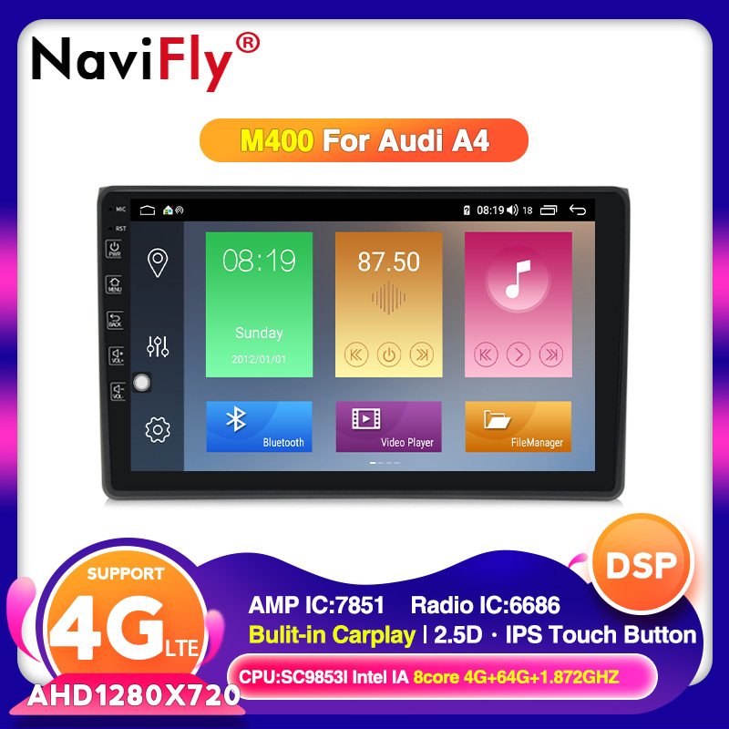 DSP Android 10.0 Car GPS navigation Player For <font><b>Audi</b></font> <font><b>A4</b></font> <font><b>B6</b></font> B7 S4 B7 <font><b>B6</b></font> RS4 B7 2002-2008 Car <font><b>multimedia</b></font> With IPS screen CARPLAY BT image