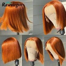 Peruca de gengibre laranja bob colorido perucas de cabelo humano peruca de bob transparente stright frente do laço peruca 250% completa do laço frontal bob femme