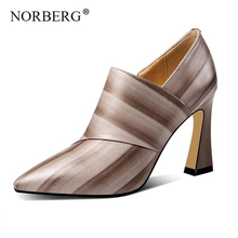 NORBERG High Heels Shoes Woman Spring 2019 New Emboss Cow Leather Pumps Women Pointed Toe Footwear Fashion Zip Shoes Female