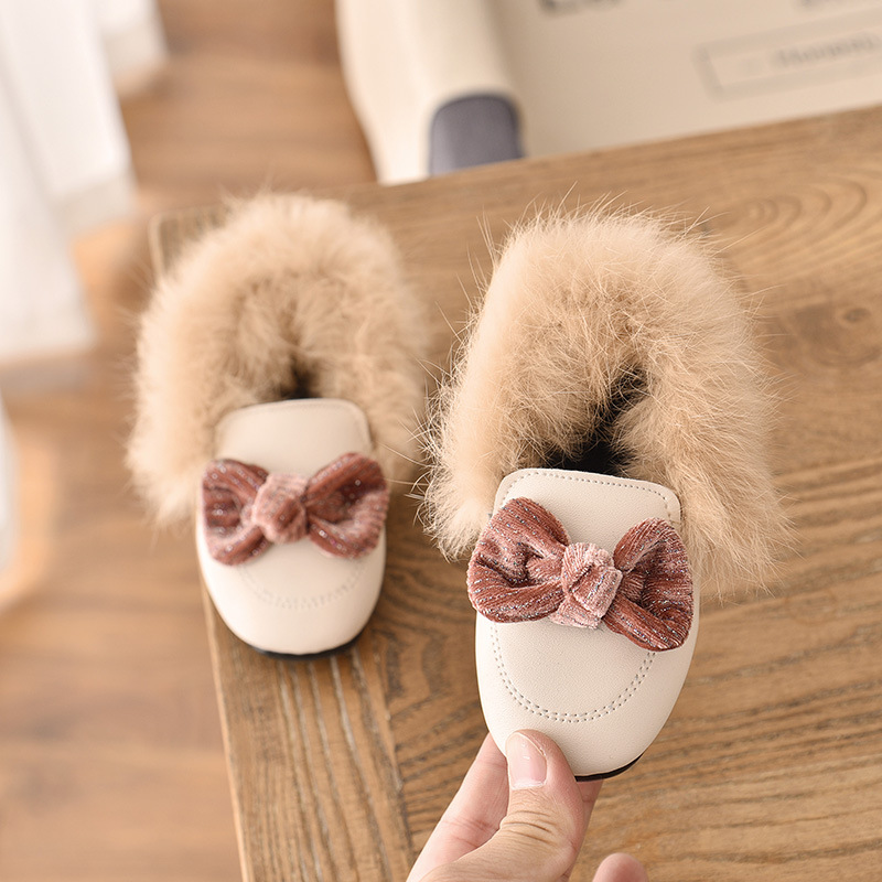 2020 New Brand Autumn Winter Girls Shoes Warm Cotton Plush Fluffy Fur Kids Loafers With Metal Chain