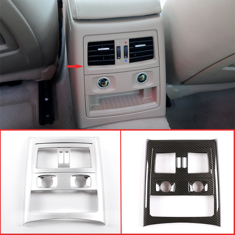 <font><b>Carbon</b></font> <font><b>Fiber</b></font> Silver Style ABS Rear Air Vent Frame Cover Trim (With cigarette lighter )For <font><b>BMW</b></font> <font><b>E90</b></font> 3 Series 2005-2012 Accessories image
