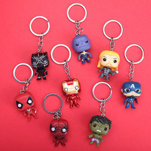 HWASY1804 popular men and women's universal Marvel Q version iron man key chain spider man dead man thunder god Pendant Keychain dead man s blues