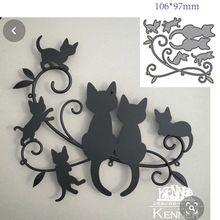 Corte de metal morre molde animal gato decoração scrapbook papel ofício faca molde lâmina punch stencils