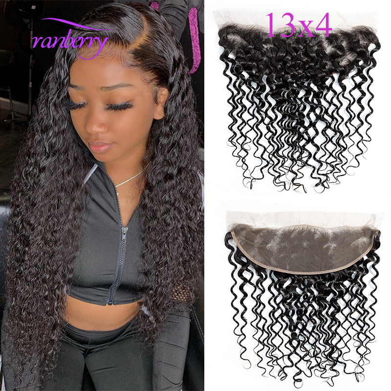 CRANBERRY Hair Water Wave Lace Frontal Closure 13*4 Swiss Lace Hair Closure Remy Human Hair Closure Online Factory Outlet