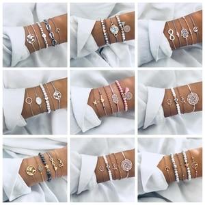 Nowa bransoletka w stylu boho zestaw dla kobiet Shell mapa gwiazd ananas serce z kamienia naturalnego łańcuchy z koralików bransoletka biżuteria boho 21 stylów