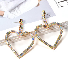ZA New Fashion Fine Jewelry Dangle Heart-Shaped Drop Earrings Hanging Dainty Clear Crystals Set in Accessories Pendientes