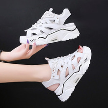 2020 Women Platform Sandals White Leather Designers Chunky Casual Shoes