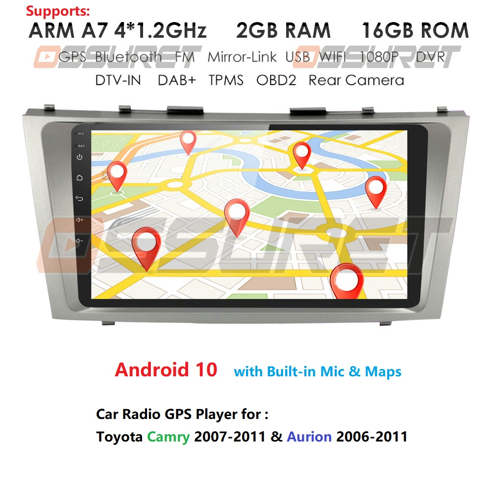 2din Android 9 Car Radio GPS Navigation For Toyota Camry 40 50 2007 2008 2009 2010 2011 Car Multimedia Player Autoradio Stereo image