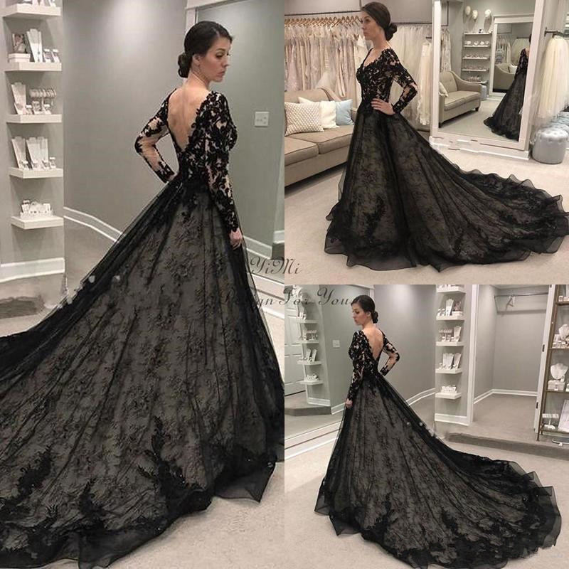 Black Lace Gothic Wedding Dresses 2019 Long Sleeve V Neck Sweep Train Lace Illusion Bodice Garden Country Bridal Gowns