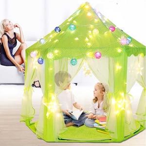 Image 3 - Children Garden Hut Princess Pink Castle Fabric Tents Lodge Girls Boys Outdoor Folding Play Tent Lodge Child Ball Pool Playhouse