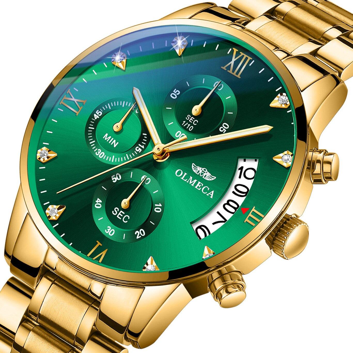 OLMECA Men Watch Top Brand Luxury Waterproof Stainless Steel Fashion Complete Calendar Wrist Watches Chronograph Clock Man Hour