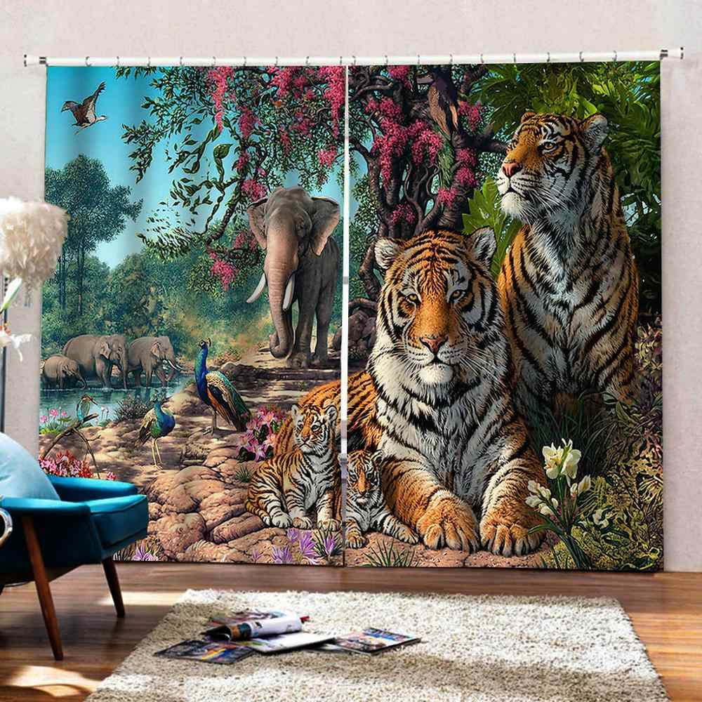 3d Photo Custom Curtains Forest Animal Tiger Curtain Creative Home Interior Drapes For Bedroom Living Room Aliexpress