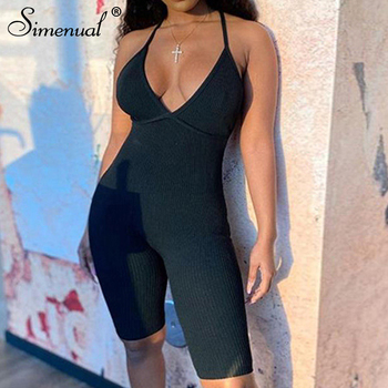 Simenual Ribbed Backless Criss Cross Biker Shorts Playsuits Women Strap Fitness V Neck Workout Active Wear Bodycon Rompers 2020 raw trim criss cross pu sandals