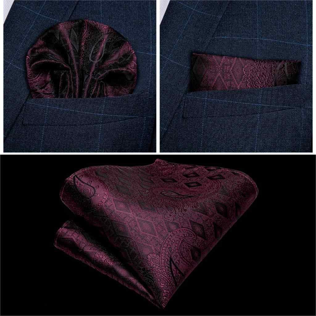 Mannen Rode Wijn Paisley Mode Bruiloft Mannen Zijde Vest Vest Strikjes Hanky Manchetknoop Das Set voor Tuxedo DiBanGu MJ-115