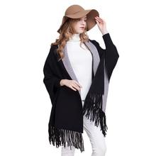 Осенние повседневные толстые вязаные пончо с кисточками, кашемировые накидки «летучая мышь», женские свободные дуплексный шаль, кардиган, длинное пончо