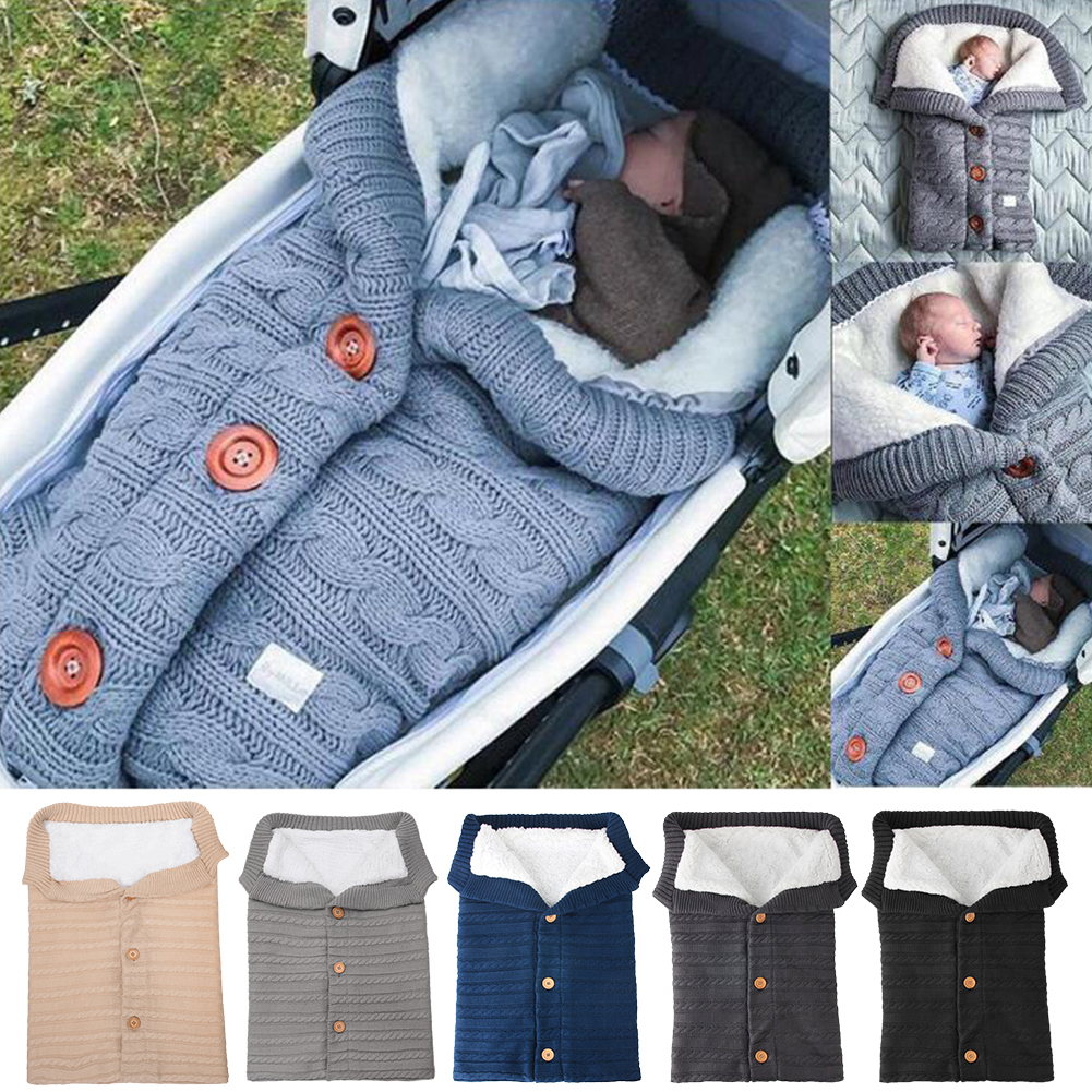 Warm Baby Blanket Knitted Newborn Swaddle Wrap Soft InfantSleeping Bag Footmuff Cotton Envelope For Stroller Accessories Blanket