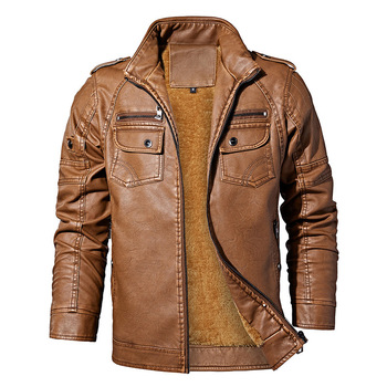 PYJTRL Mens Autumn Winter Fleece Lining Leather Jacket Fashion PU Washed Leather Motorcycle Jaket Men Bomber Camperas Thick Coat 12