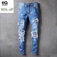 Slim Fit Distressed Jeans 2020 Fashion Brand Straight Casual Full Length Pants Rockstyle Denim Trousers Vetements Plus Size 42
