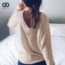 V Neck Long Sleeve Pullovers Loose Solid CoatAutumn Winter Fashion Women's Sweater Casual Knitted Sweater Women hamaliel high quality autumn and winter sweater long dress 2018 fashion solid long sleeve knitted v neck bodycon dress with belt