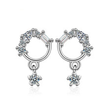 Korea Hot Romantic Full Austrian Crystal Flower 925 Silver Earring Jewerly Women Fashion Jewelry Wholesale 2Y770(China)