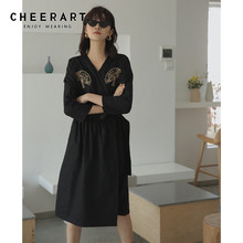 Cheerart Haori Embroidery Black Vintage Dress Japanese V Neck Lace Up Long Tunic Dress Women Long Sleeve Midi Dress Fall 2019 embroidery flounce sleeve tunic dress