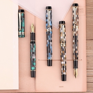 Image 1 - Moonman M600 Celluloid Checkerboard Fountain Pen Germany Schmidt Fine Nib 0.5mm Excellent Office Writing Gift Box Pen Supplies