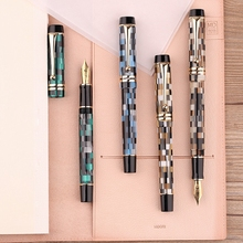 Moonman M600 셀룰로이드 체커 보드 만년필 독일 Schmidt Fine Nib 0.5mm 우수 Office Writing Gift Box 펜 용품