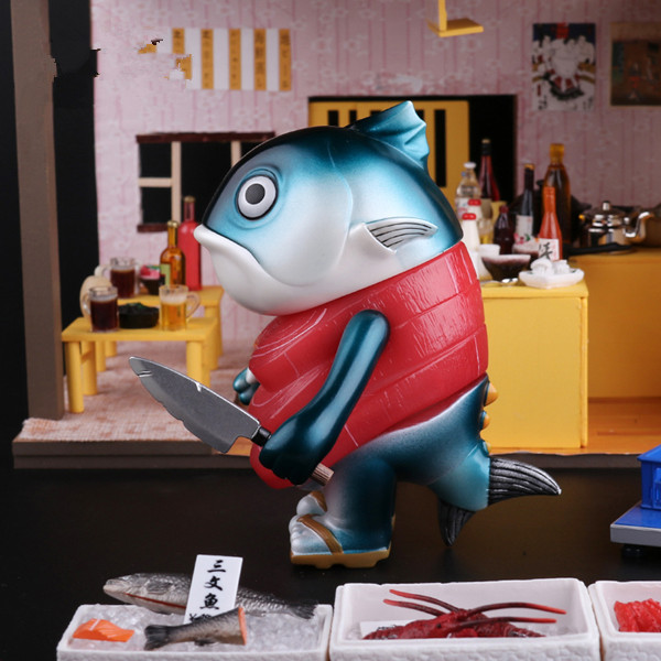 Mame Moyashi Maguro Senpai Salmon Tuna Fish Sashimi Vinyl Figure Fashion Toy New