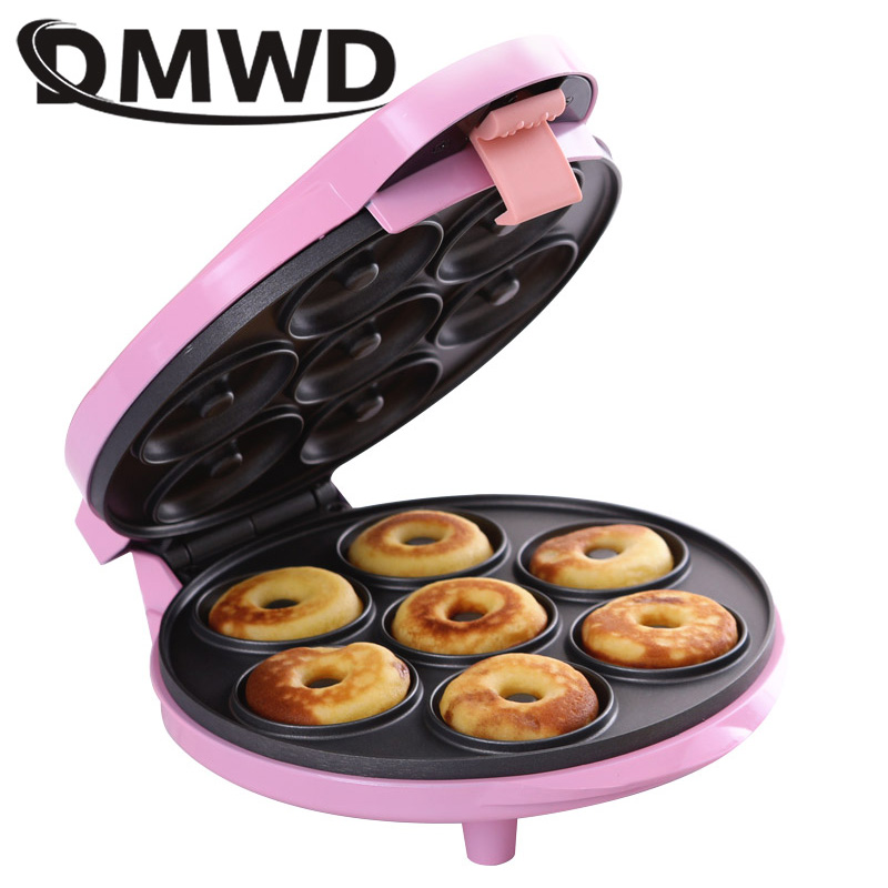 DMWD MINI donut making machine Eggs cake baking Breakfast waffle Electric Donut maker automatic pancake doughnut Makers EU plug image
