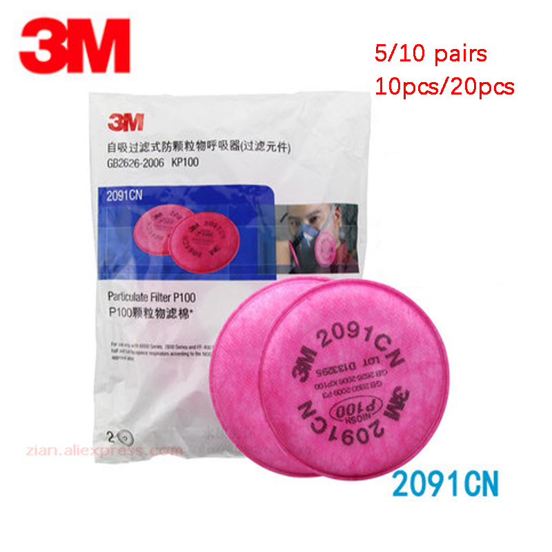 10/20pcs 3m 2091 Particulate Filter Cotton P100 Can Use With Gas Mask 6200 7502 6800 Anti-dust Respirator Pink Color