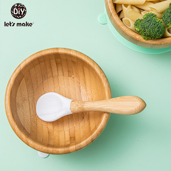 news 1set kids ice cream bowl spoon set durable children gifts lovely dessert bowl diy ice cream tools icecream bowl and spoon 1Set Silicone Baby Feeding Bowl Set Bamboo Spoon Baby Learning Dishes Suction Bowl  Kids Toddler Assist Plate Children Tableware