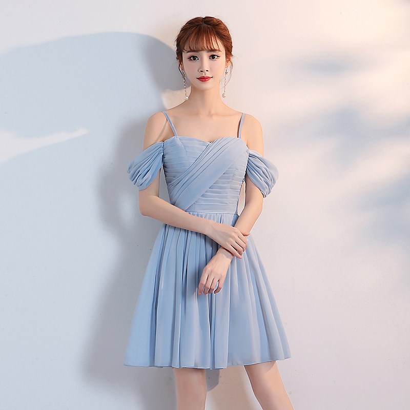 Blue Mini Dress Women Wedding Party Dress  Bridemaid Dress Pleat Chiffon Dress
