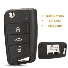 Kutery Original Auto Flip MQB Fernbedienung Auto Schlüssel Fob 433Mhz Id48 5G0959753BA/52BA Für VW MQB Golf VII MK7, skoda Octavia A7 2017